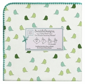 SwaddleDesigns - Ultimate Receiving Blanket - Pure Green, Turquoise Little Chickies with Turquoise Trim
