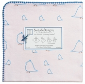 SwaddleDesigns - Ultimate Receiving Blanket - Blue Chickies with True Blue Trim