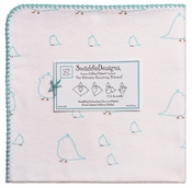 SwaddleDesigns - Ultimate Receiving Blanket - SeaCrystal Chickies with Turquoise Trim
