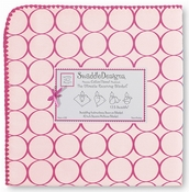 Ultimate Receiving Blanket - Pastel Pink wtih Very Berry Mod Circles