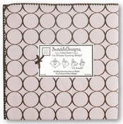 SwaddleDesigns - Ultimate Receiving Blanket - Pastel Pink with Brown Mod Circles