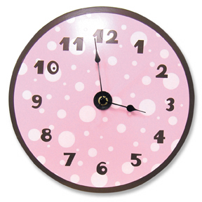 Pink & Brown Dot Wall Clock