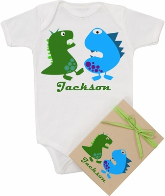 """Organic Cotton Personalized Onesie """"Blue & Green Monsters"""""""