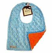 Meg Original Orange & Blue Minky Dot Bib