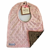 Meg Original Pink & Brown Minky Bib