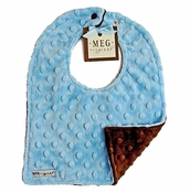 Meg Original Blue & Brown Minky Dot Bib