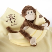"Plush ""Monkey Magoo and Blankie Too!"" in Keepsake Banana Gift Box"