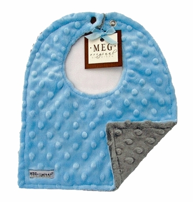 Meg Original Blue & Gray Minky Bib