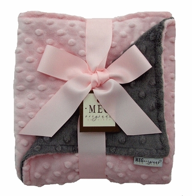 Meg Original Charcoal & Pink Minky Dot Blanket