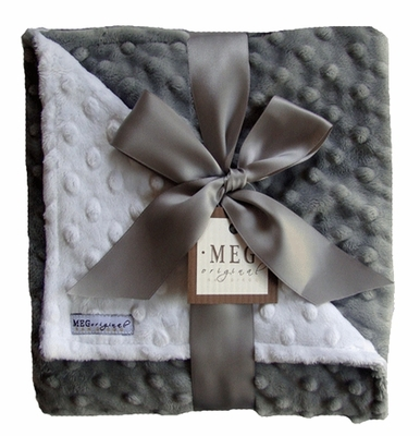 Meg Original Gray & White Minky Dot Blanket