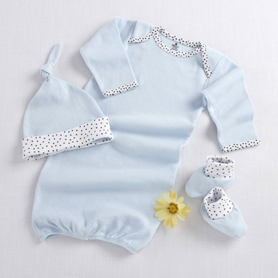 """Welcome Home Baby!"" 3-Piece Layette Set in Keepsake Gift Box Blue"