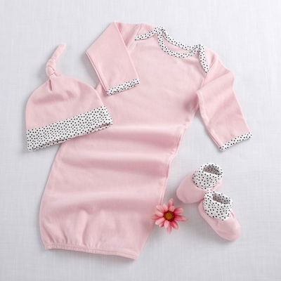 """Welcome Home Baby!"" 3-Piece Layette Set in Keepsake Gift Box Pink"