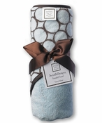 Swaddle Designs Hooded Towel Pastel Blue with Brown Mod Circles