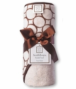 Swaddle Designs Hooded Towel Pastel Pink with Brown Mod Circles