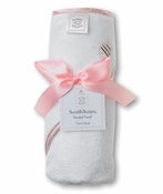 Swaddle Designs Pastel Pink Striped Fish Hooded Towel