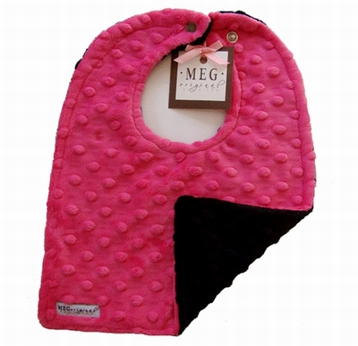 Meg Original Hot Pink & Black Minky Bib