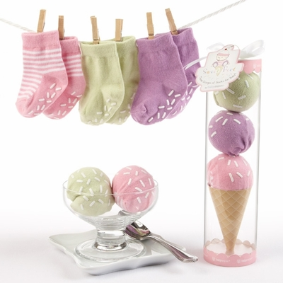"""Sweet Feet"" Three Scoops of Socks Gift Set (Pink)"