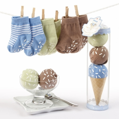 """Sweet Feet"" Three Scoops of Socks Gift Set (Blue)"