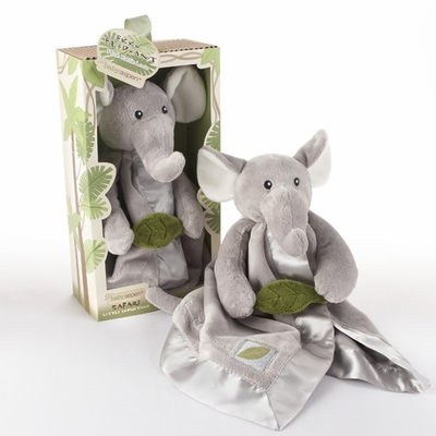 """Ekko the Elephant"" Little Expeditions Plush Rattle Lovie with Crinkle Leaf"