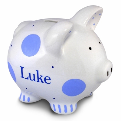 Blue Polkadot Piggy Bank