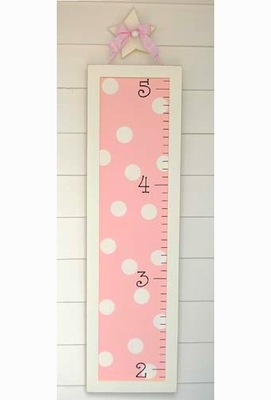 Wooden Pink Polka Dot Growth Chart