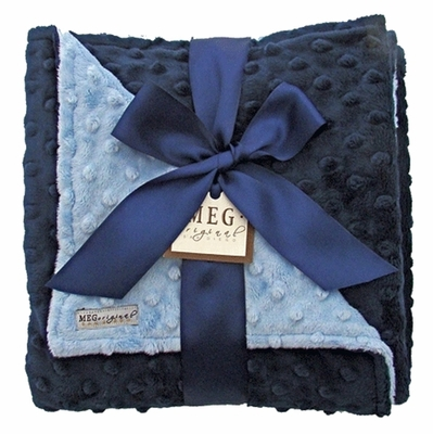 Meg Original Navy Blue & Baby Blue Minky Dot Blanket
