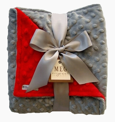 Meg Original Red & Gray Minky Blanket