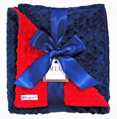 Meg Original Red & Navy Blue Minky Dot Blanket