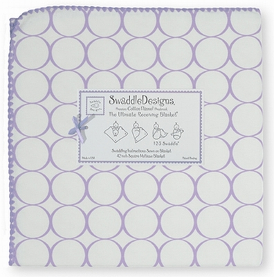 *New color* SwaddleDesigns - Ultimate Receiving Blanket - Mod Circles on White - Lavender