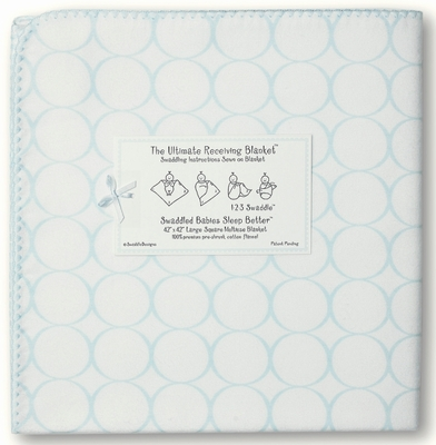 SwaddleDesigns - Ultimate Receiving Blanket - Mod Circles on White - Pastel Blue