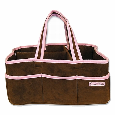 Brown Ultrasuede w/Pink Trim Storage Caddy