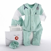 """Big Dreamzzz"" Baby M.D. Three-Piece Layette Set in ""Doctor's Bag"" Gift Box"