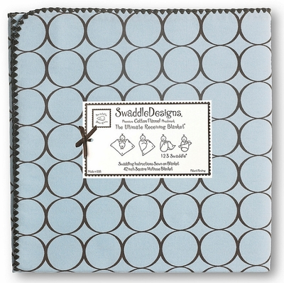 SwaddleDesigns - Ultimate Receiving Blanket - Pastel Blue with Brown Mod Circles