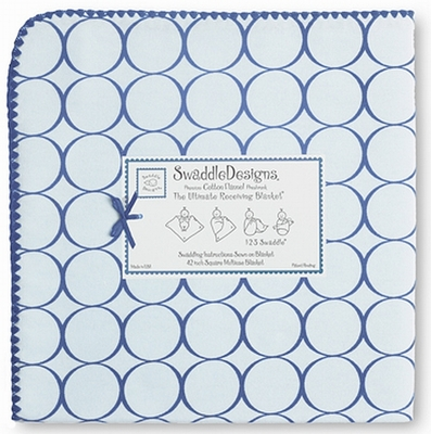 SwaddleDesigns - Ultimate Receiving Blanket - Pastel Blue with True Blue Mod Circles