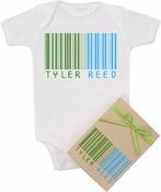 "Organic Cotton Personalized Onesie ""Bar-Code"" Green"