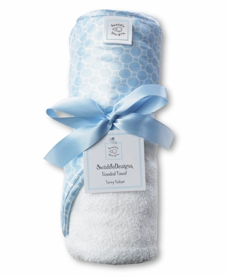 Swaddle Designs Hooded Towel Pastel Blue Mini Mod Circles