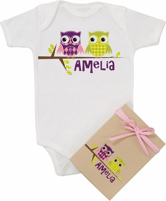 "Organic Cotton Personalized Onesie ""Purple & Green Owls"""