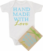 "Organic Cotton Printed  Bodysuit  ""Handmade with Love"" Blue"