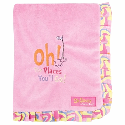 Trend Lab Dr. Seuss Oh, the Places You'll Go! Pink Ruffle Blanket
