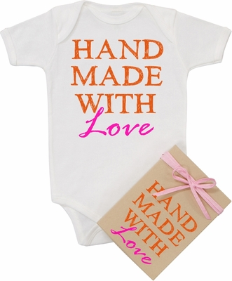 "Organic Cotton Printed  Bodysuit  ""Handmade with Love"" Pink"
