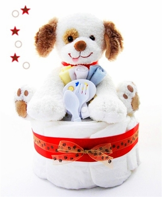 Puppy Paws One Tier Diaper Cake