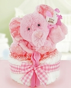 Gingham & Giggles One Tier Diaper Cake-Girl