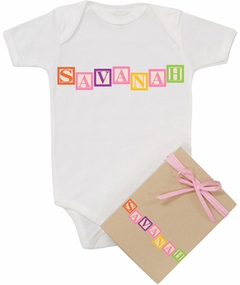 "Organic Cotton Personalized Onesie ""Baby Blocks"" Girl"
