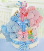 Gingham & Giggles 3 Tier Twins Diaper Cake