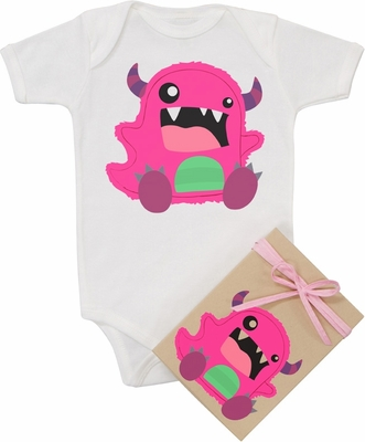 "Organic Cotton Printed  Bodysuit  ""Silly Monster"""