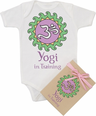 "Organic Cotton Printed  Bodysuit  ""Yogi in Training"""