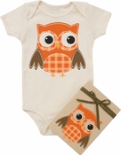 "Organic Cotton Printed  Bodysuit  ""Owl on Oatmeal"""