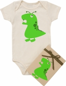 "Organic Cotton Printed  Bodysuit  ""Green Monster"""