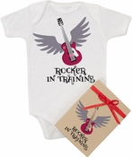 "Organic Cotton Printed  Bodysuit   ""Rocker in Training"""