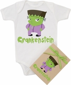 "Organic Cotton Printed  Bodysuit   ""Crankenstein"""